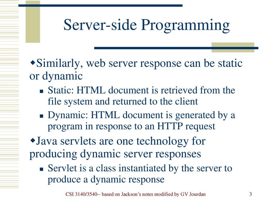 f94eea462499ff Server-side Programming  Java Servlets - ppt download
