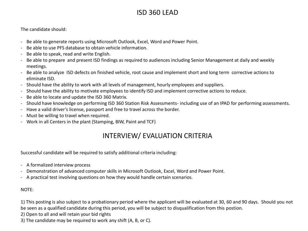 INTERVIEW/ EVALUATION CRITERIA - ppt download
