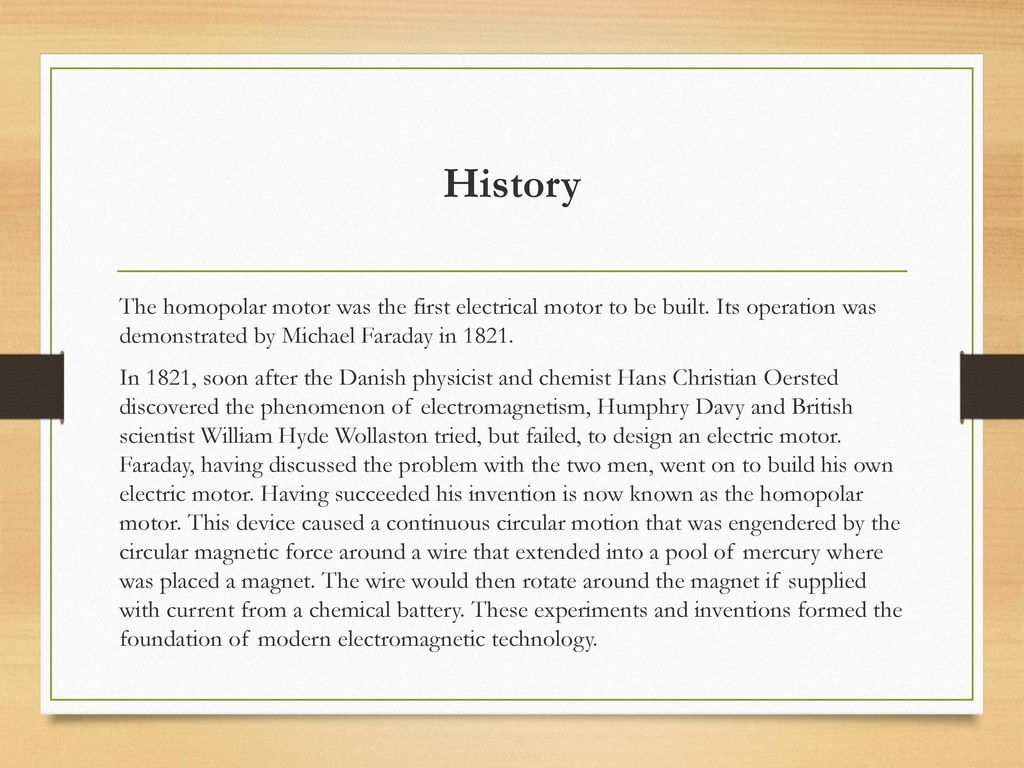 Homopolar Motor Bogdan Maxim Ppt Download Faraday The Invention Of Electric And Generator History
