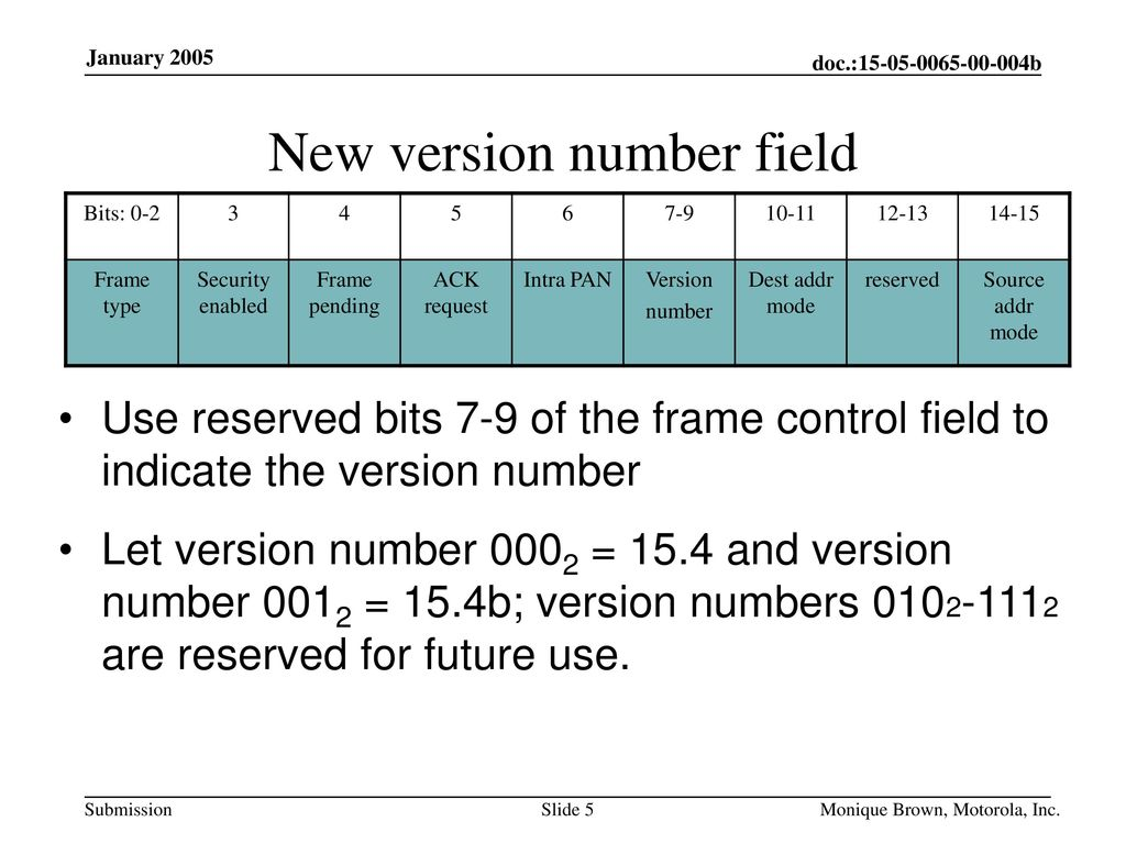 New version number field