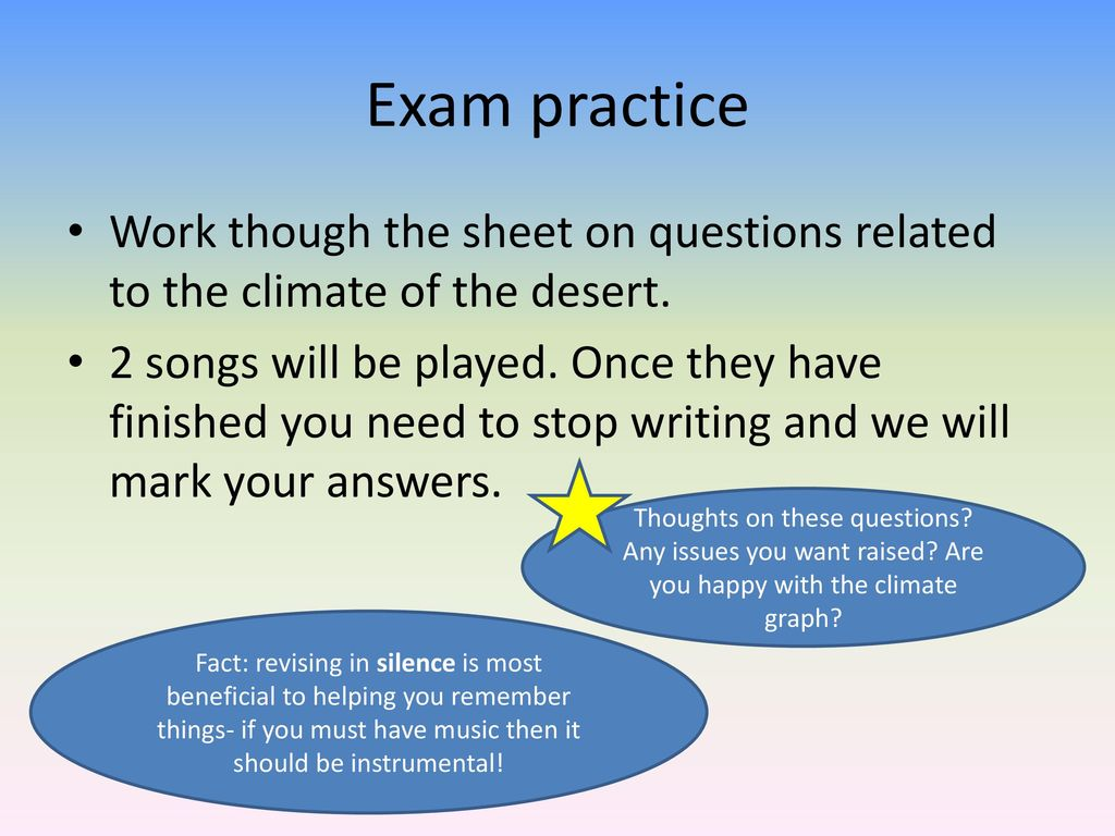 Exam practice Work though the sheet on questions related to the ...