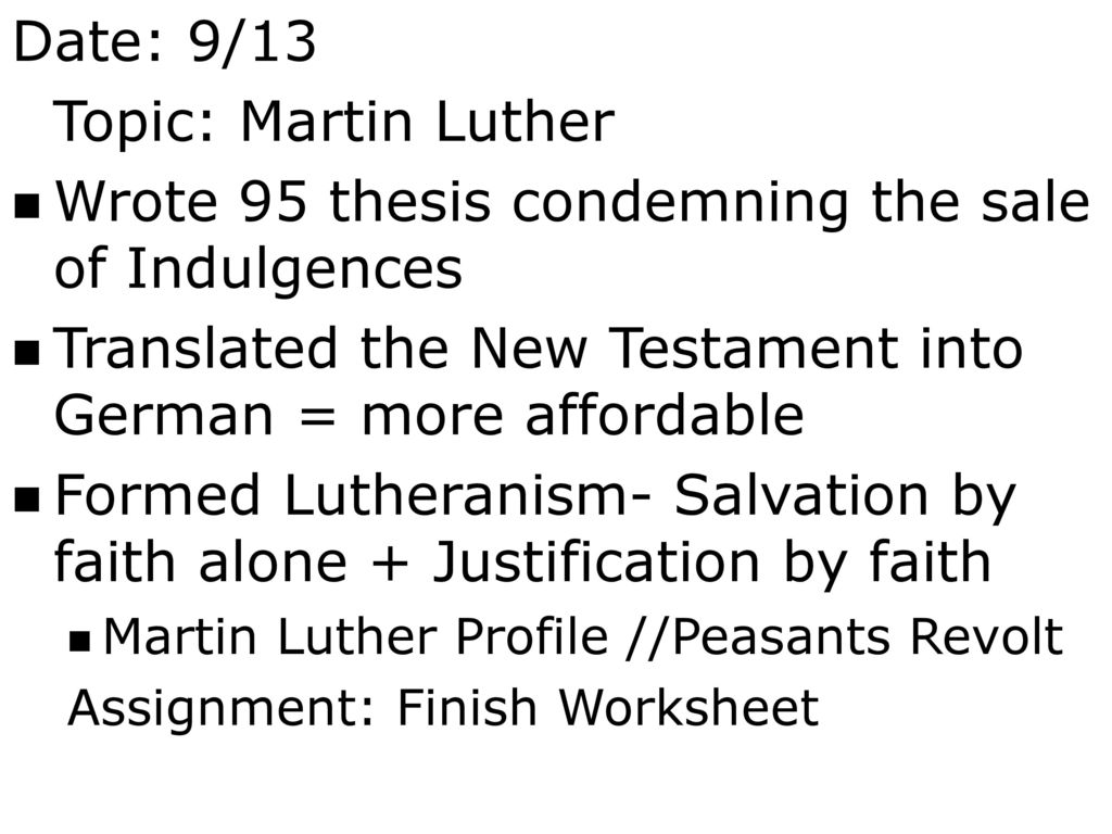 Date 912 Topic Causes Of The Reformation Ppt Download