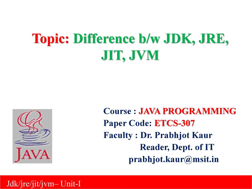 Topic: Difference b/w JDK, JRE, JIT, JVM - ppt download