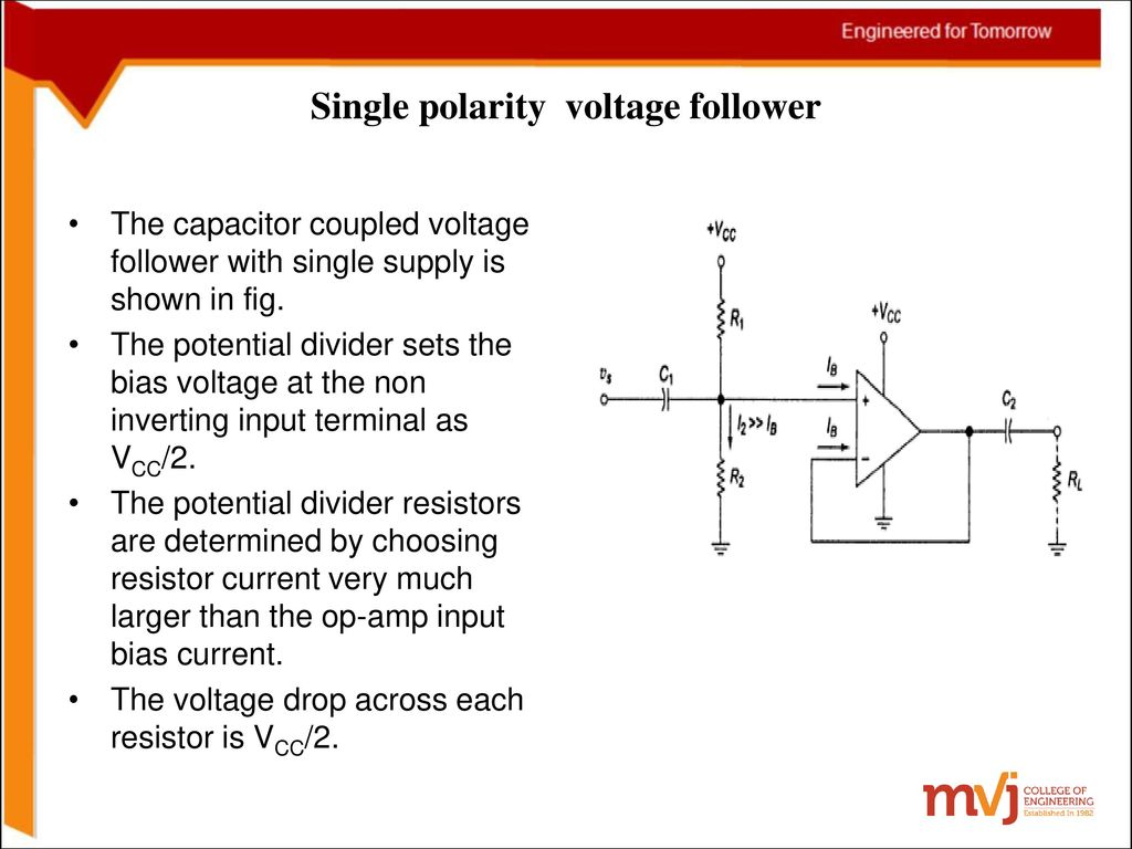 Subject Name Linear Ics And Applications Code10ec46 Figure 2 Circuit Diagram For A Singlesupply Op Amp Integrator 16 Single Polarity Voltage Follower