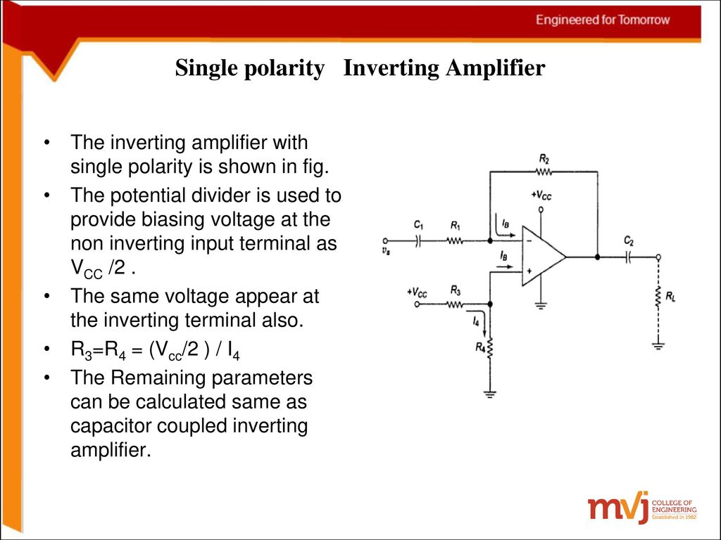 Subject Name Linear Ics And Applications Code10ec46 Supply Bias Level At Ac The Circuit Looks Like Your Basic Inverting Single Polarity Amplifier