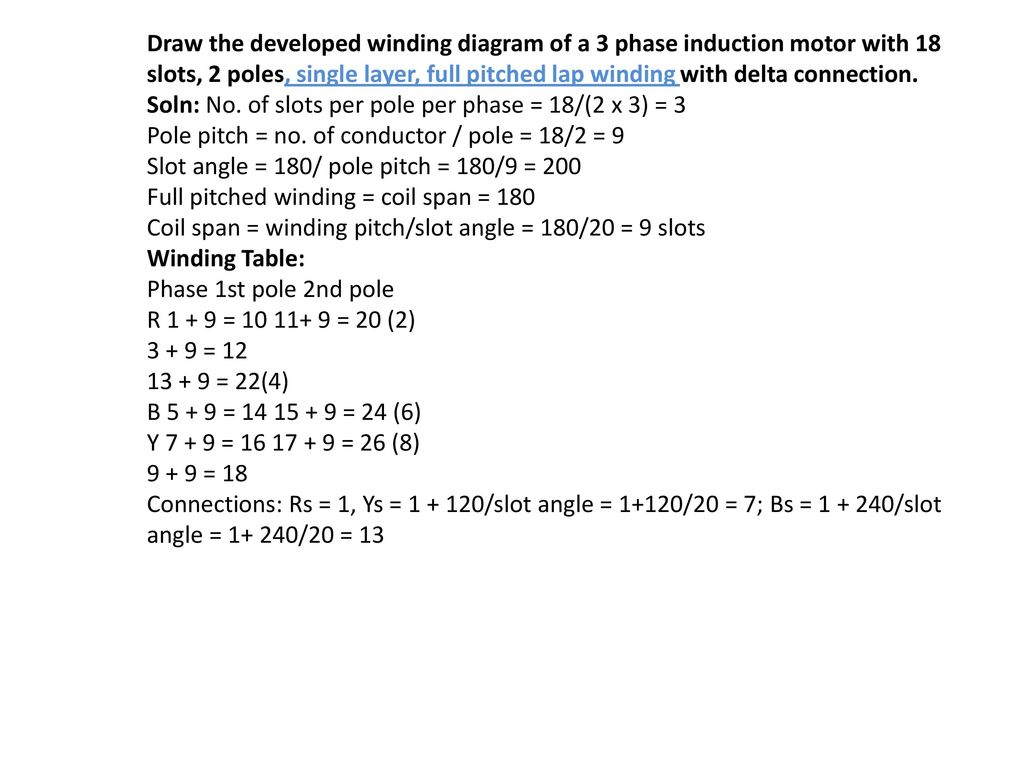 Winding Diagrams: (i) DC Winding diagrams (ii) AC Winding Diagrams ...