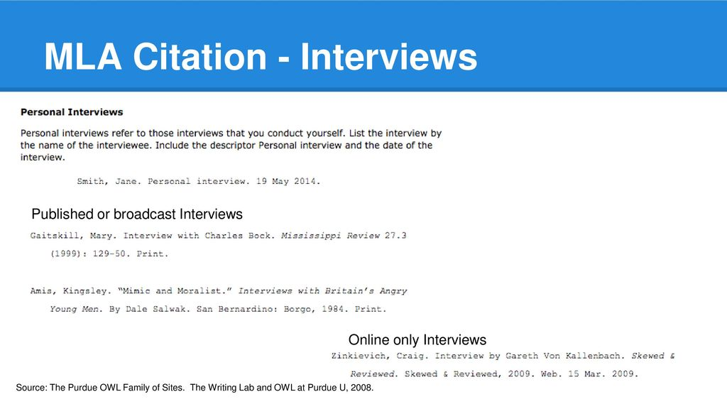 mla in text citation for interview