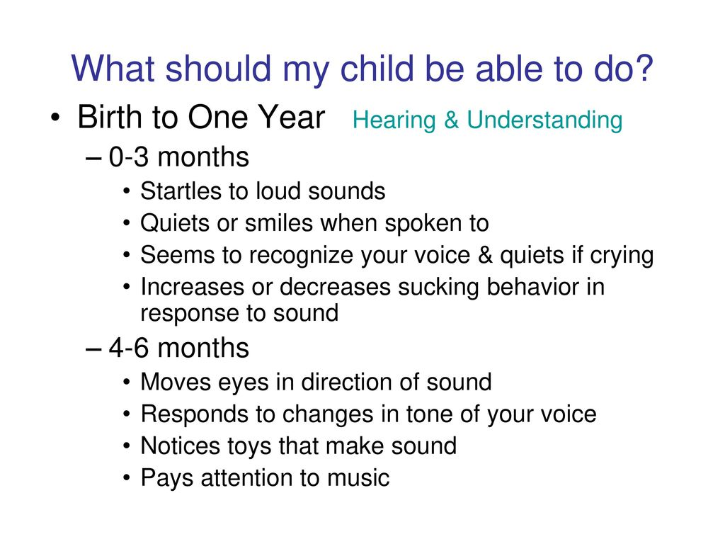 What should a child be able to do in 3 months