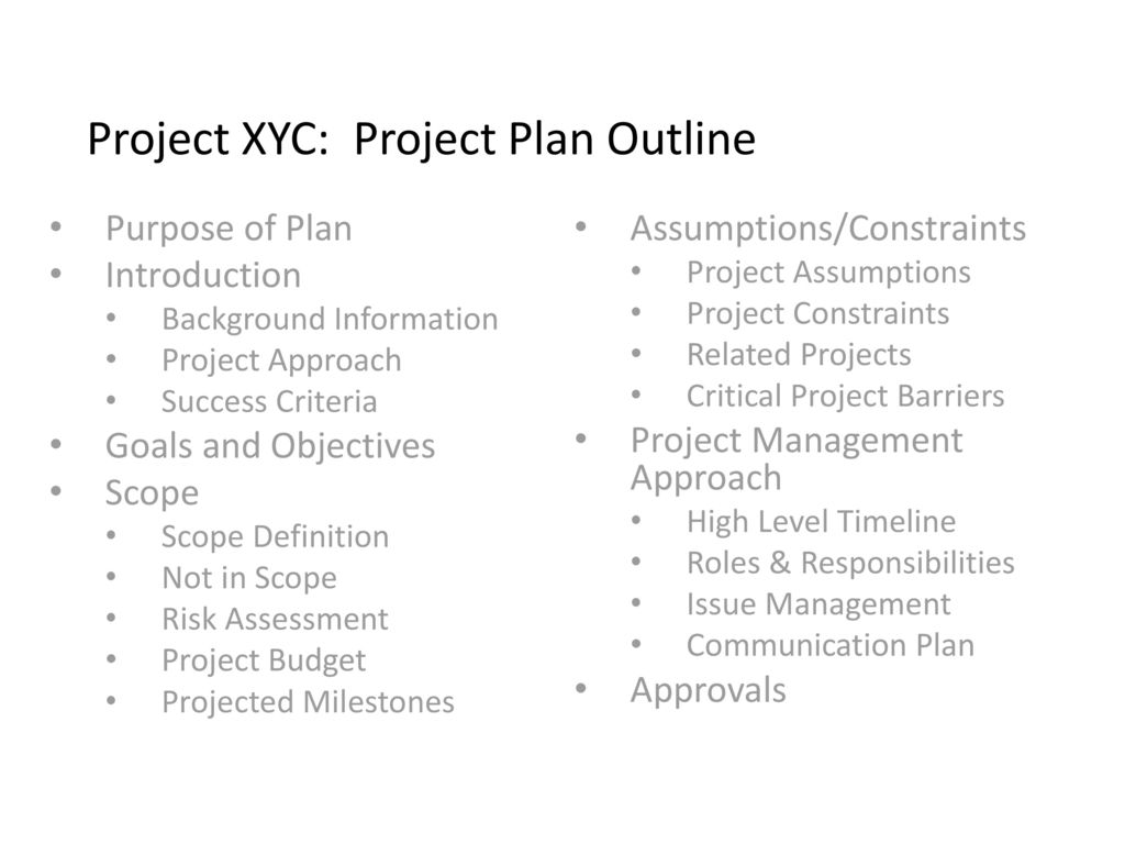 project xyc project plan ppt download
