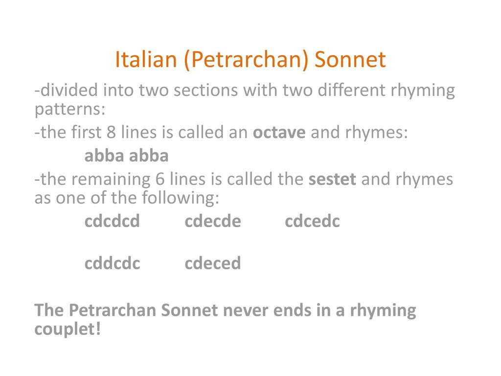 Sonnets  - ppt download