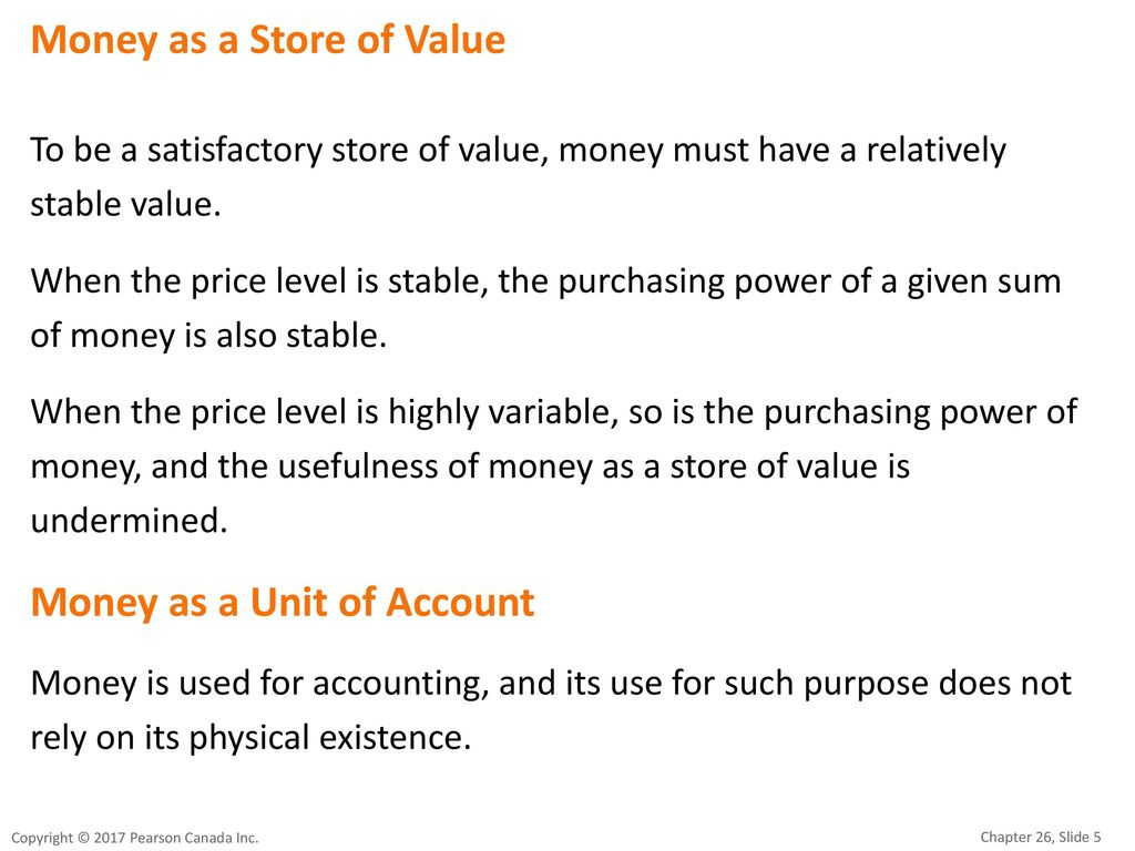 Money as a Store of Value