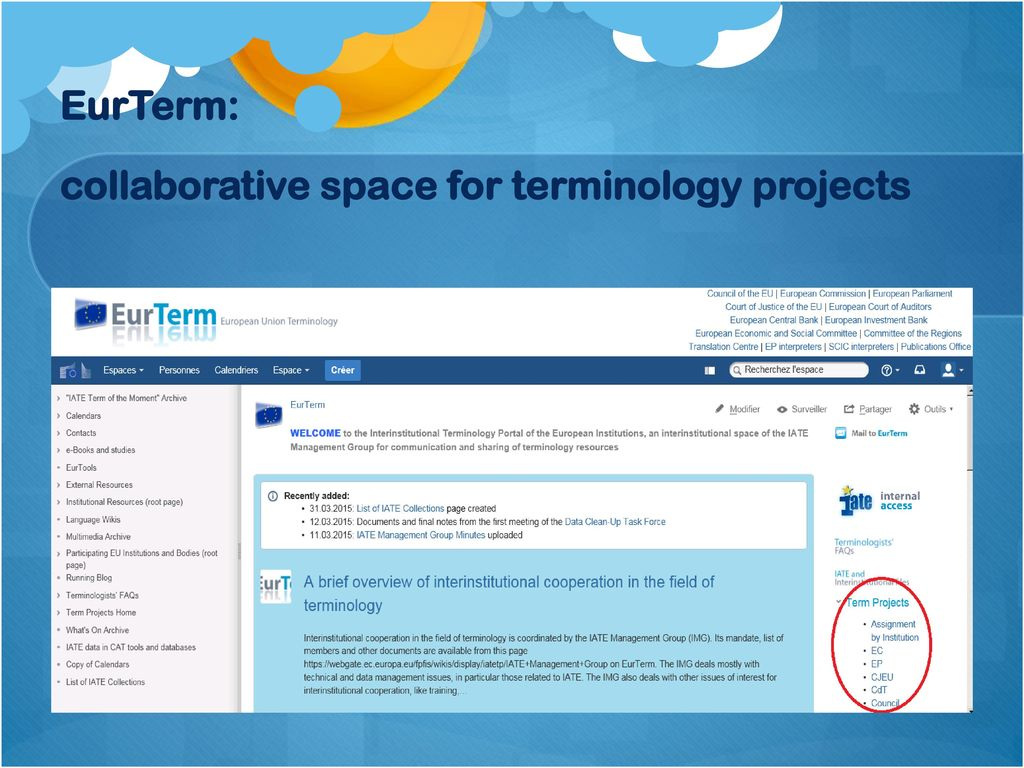 Eu Terminology Building Text Related Translation Oriented
