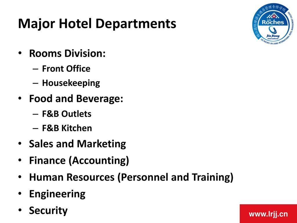 Major Hotel Departments