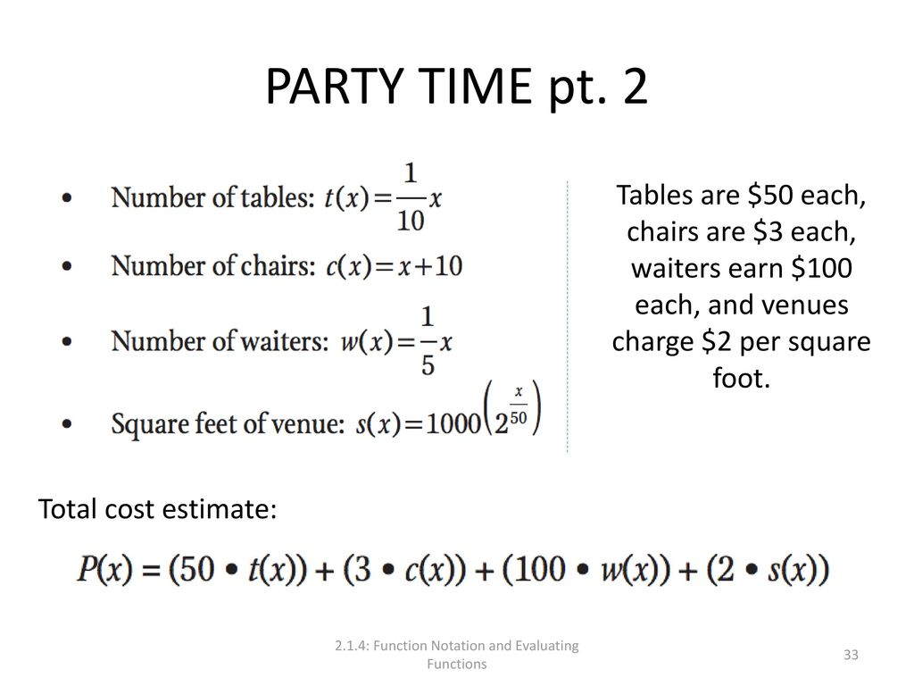 2 1 4: Function Notation and Evaluating Functions - ppt download