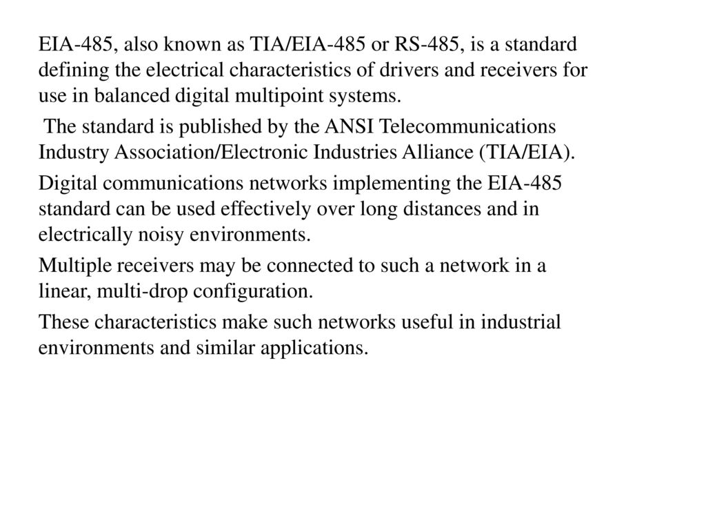Rs 232 And 485 Unit Ppt Download Data Interface Gives Isolated Full Duplex Operation Eia Also Known As Tia Or