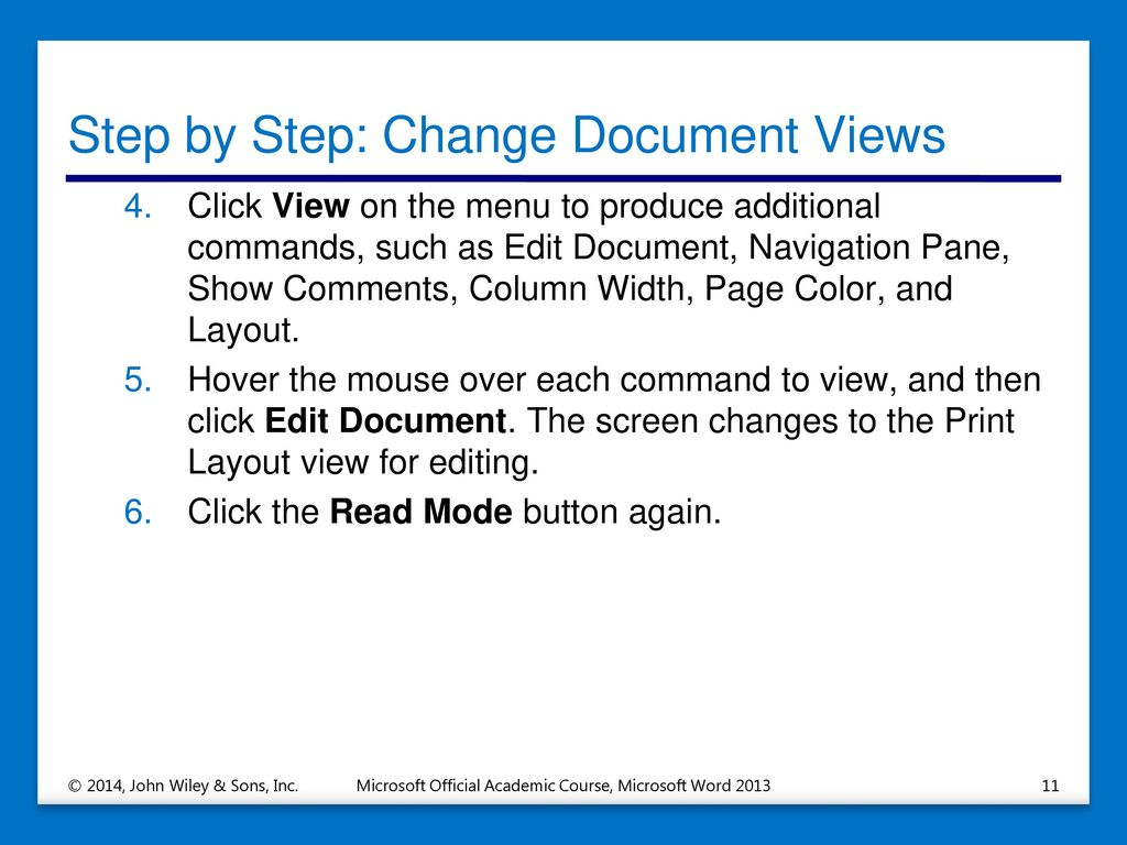 Step By Change Document Views
