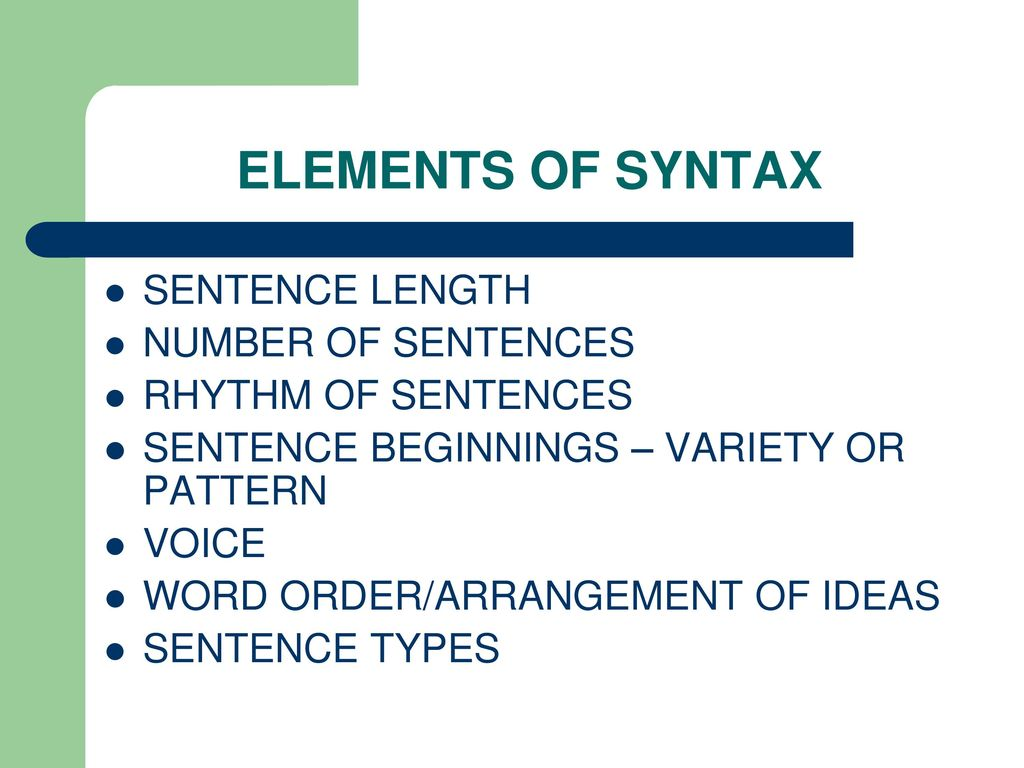 Syntactic analysis of words and phrases, analysis of a simple and complex sentence