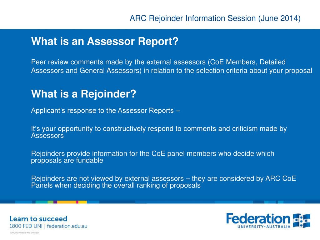 ARC Rejoinder Information Session - ppt download