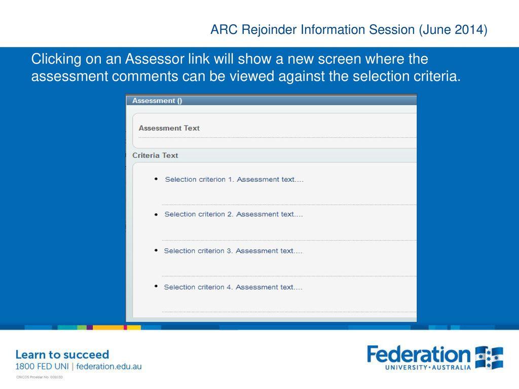 ARC Rejoinder Information Session - ppt download