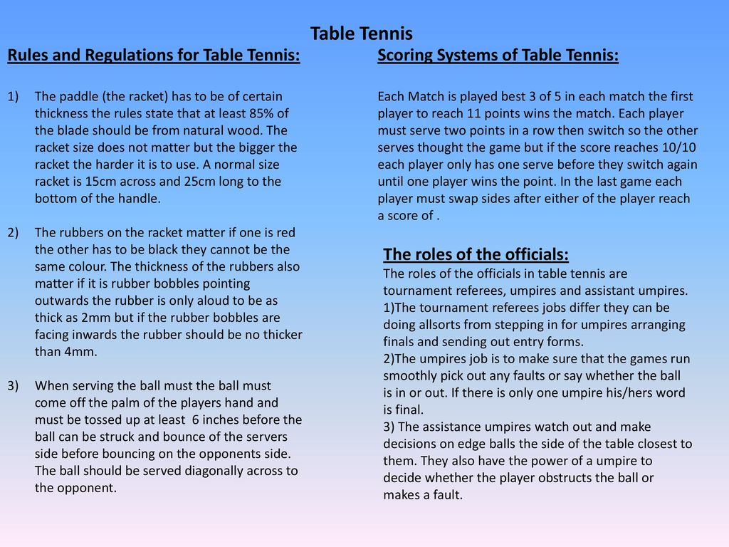 Table Tennis And Badminton Ppt Download