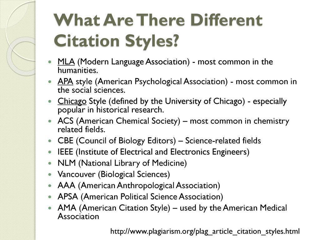 different citation styles