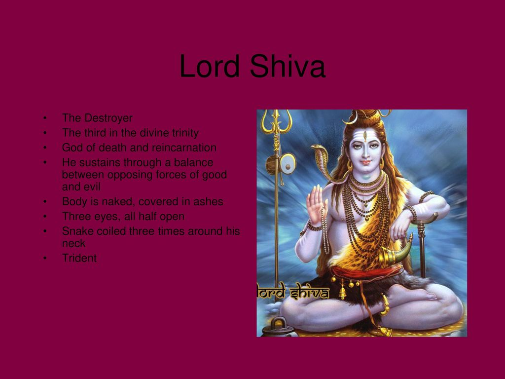 Lord Shiva The Destroyer The third in the divine trinity
