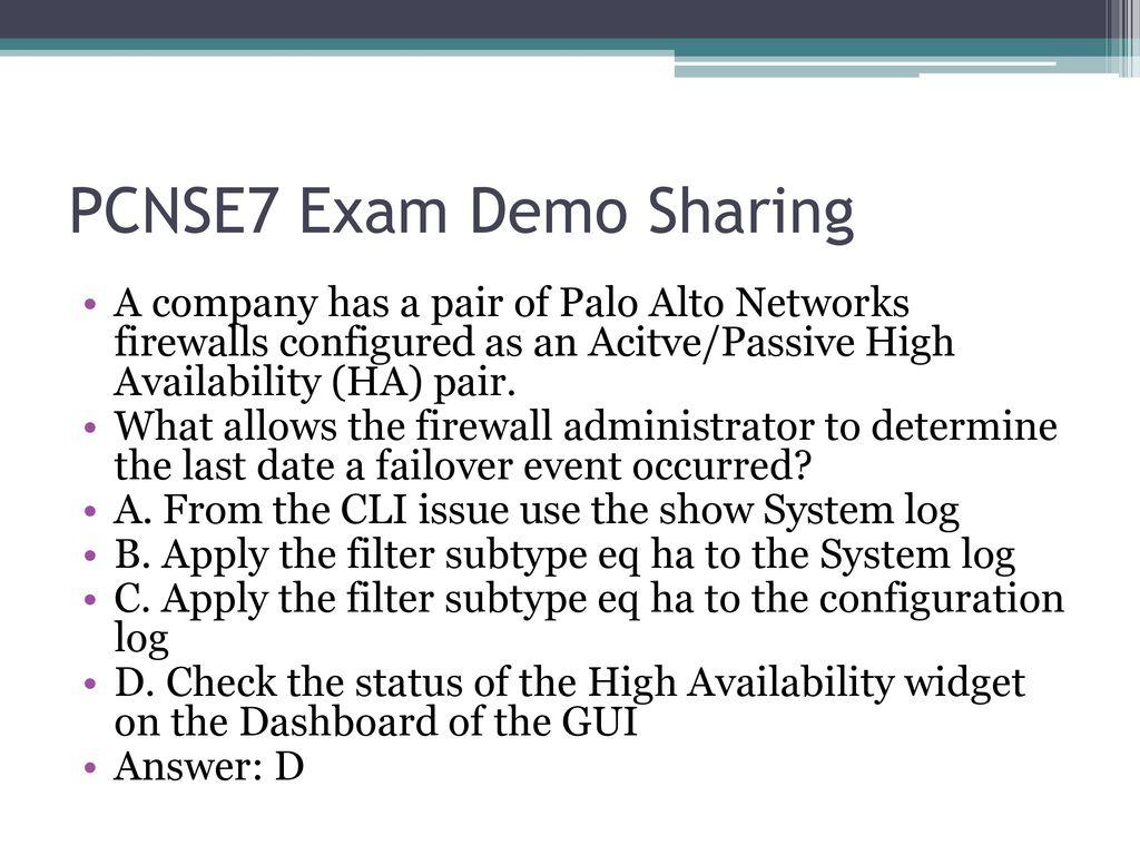 Killtest Palo Alto Networks PCNSE7 Exam - ppt download
