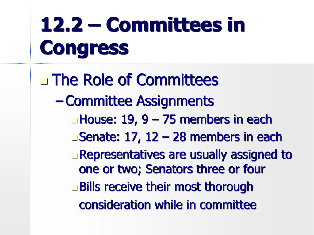 congressional committee assignments Assignment to class c committees is made without reference to a member's service on any other panels standing committees standing committees are permanent bodies with specific responsibilities spelled out in the senate's rules twelve of the sixteen current standing committees are class a panels.