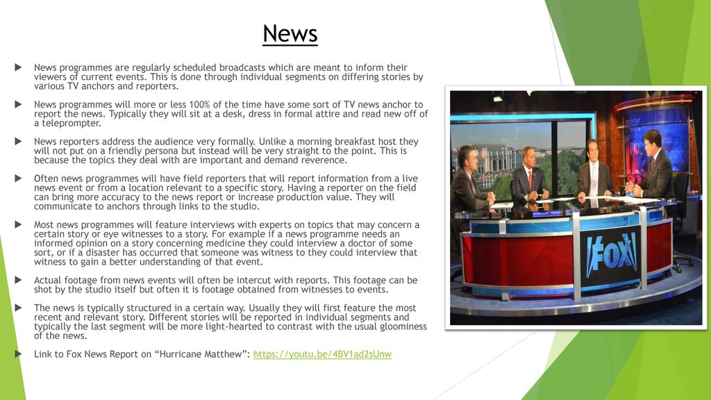 Creating a news report unit 27 – factual programme production.