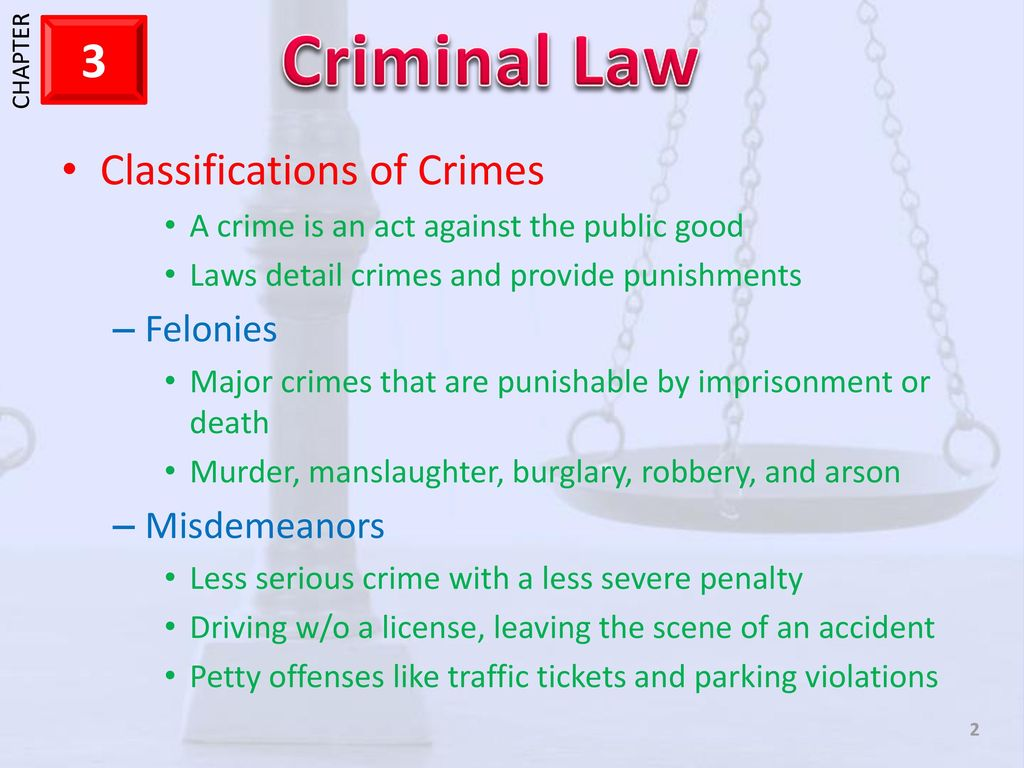Severe and especially serious crimes and their classification