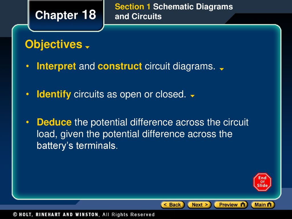 Chapter 18 Objectives Interpret and construct circuit diagrams ...