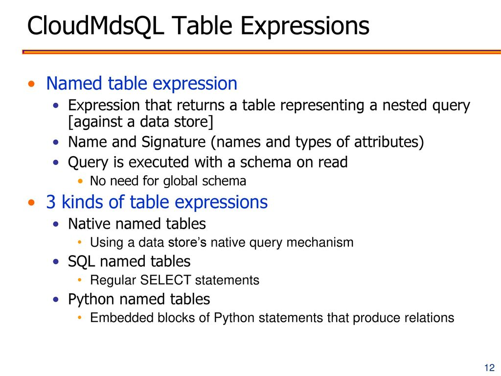CloudMdsQL Table Expressions
