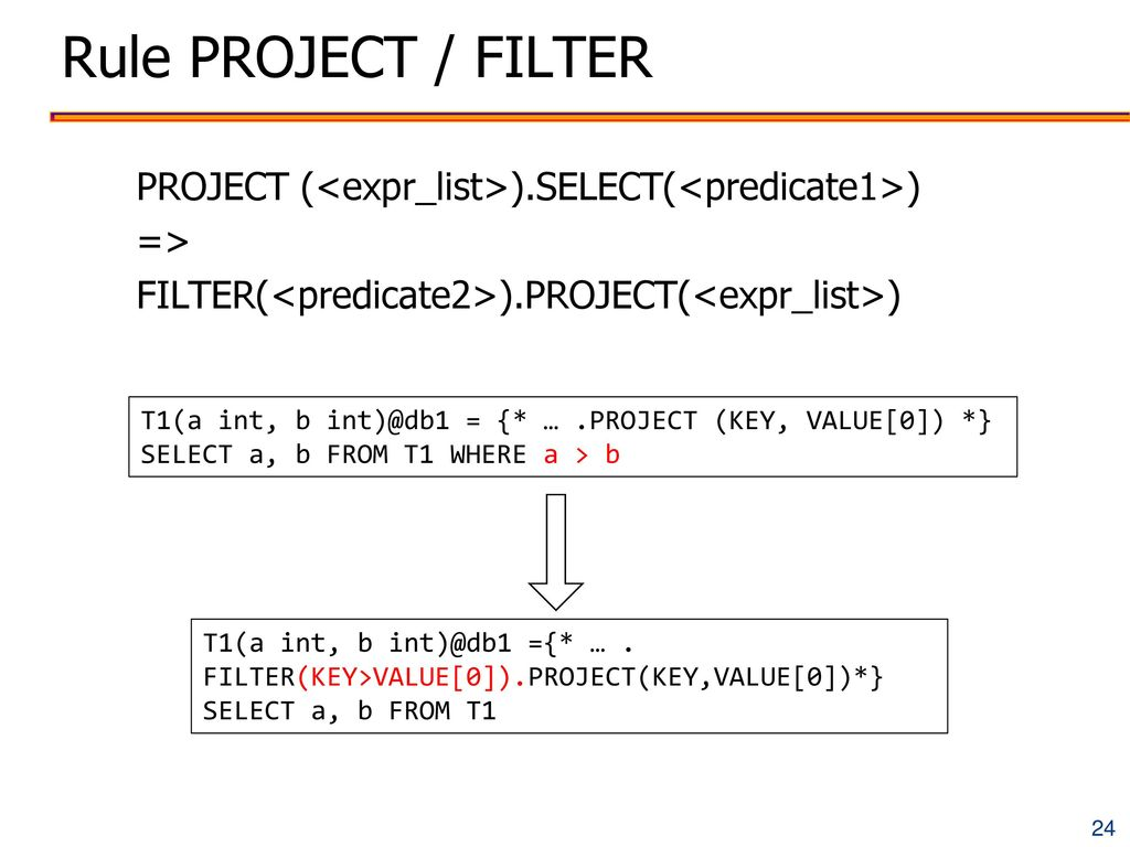 Rule PROJECT / FILTER PROJECT (<expr_list>).SELECT(<predicate1>) => FILTER(<predicate2>).PROJECT(<expr_list>)