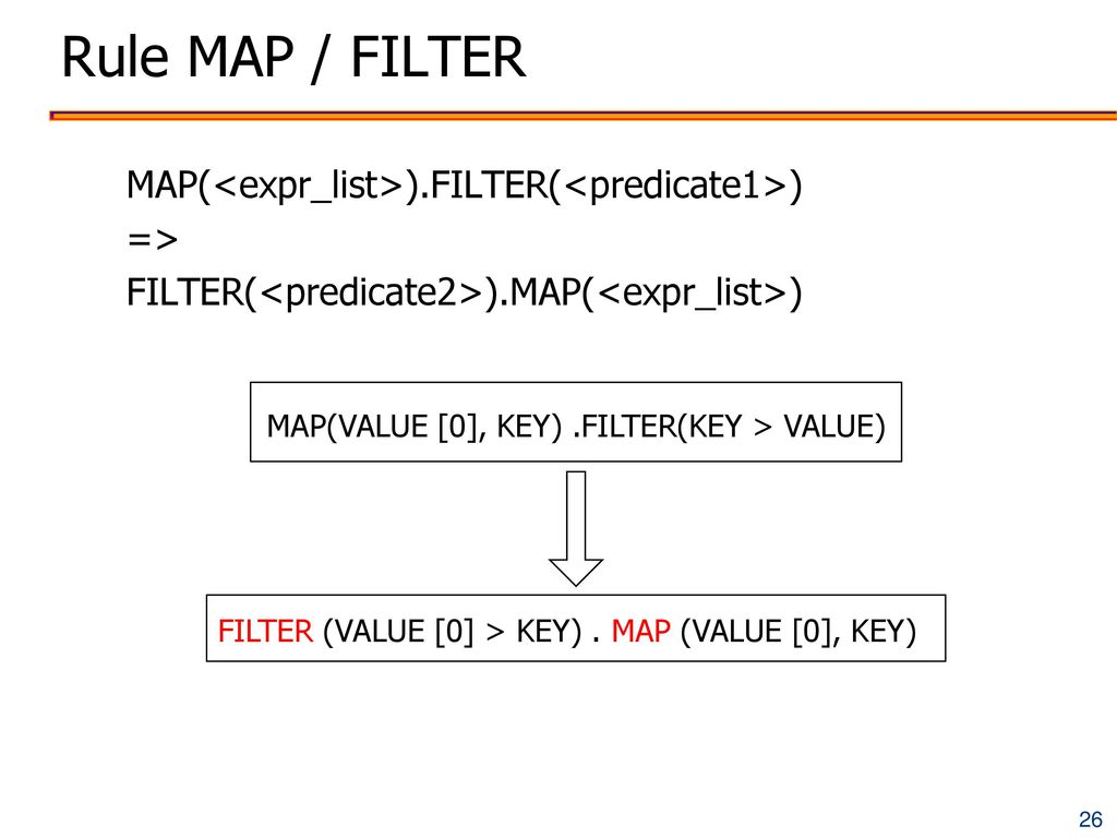 MAP(VALUE [0], KEY) .FILTER(KEY > VALUE)