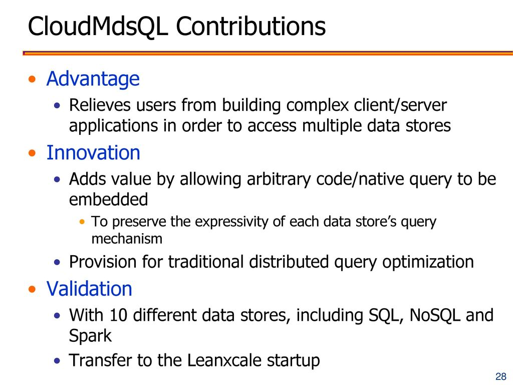 CloudMdsQL Contributions