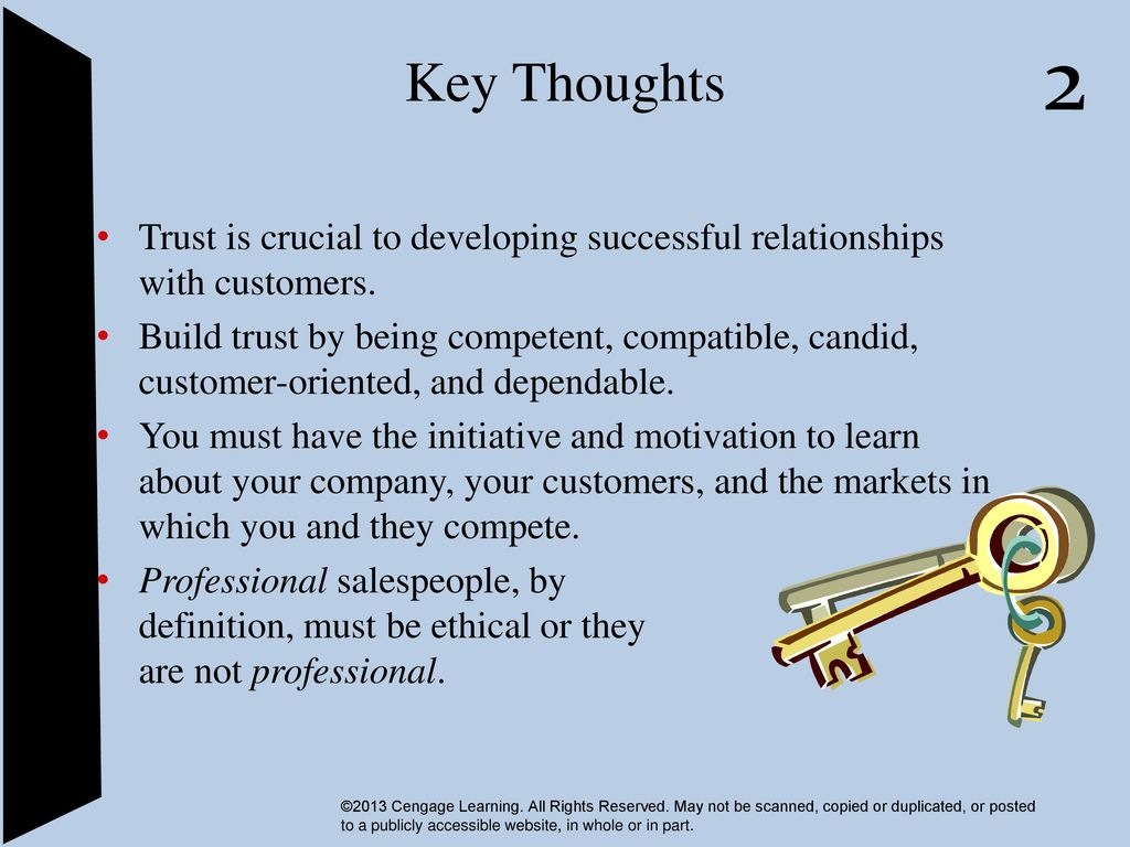 Key Thoughts Trust Is Crucial To Developing Successful Relationships With Customers Build Trust By Being Competent Compatible Candid Customer Oriented Ppt Download