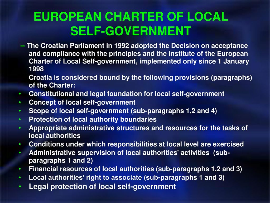 European Charter of Local Self-Government: Basic Principles 51