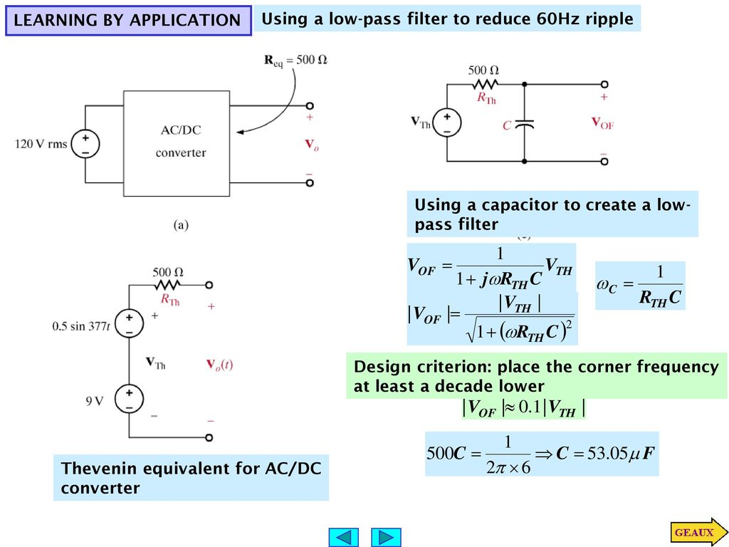 Variable Frequency Network Ppt Download Find The Thvenin Equivalent With Respect To 1nf Capacitor 89 Learning By Application