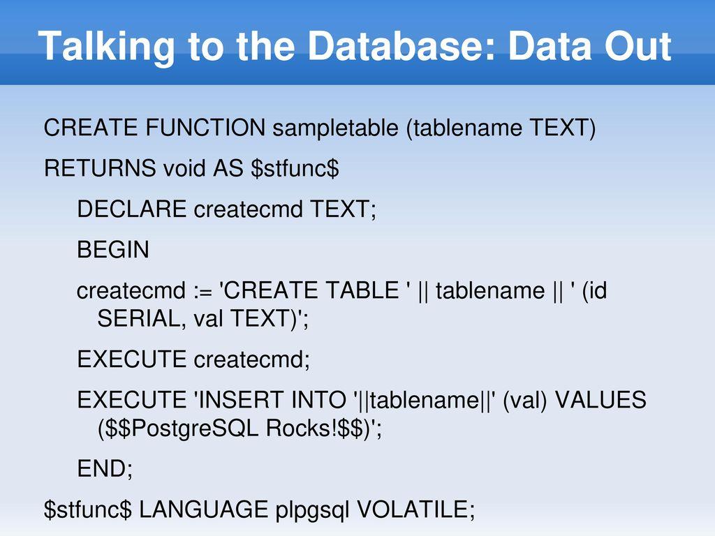 PostgreSQL Conference East ppt download