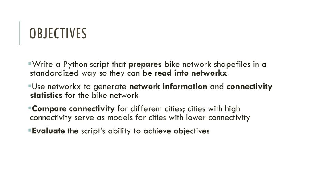 An assessment of bike networks and their connectivity using Python