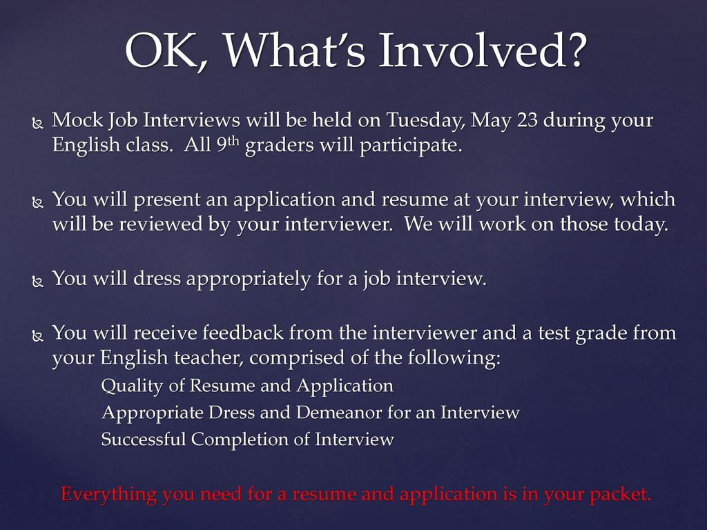 OK Whats Involved Mock Job Interviews Will Be Held On Tuesday May 23 During