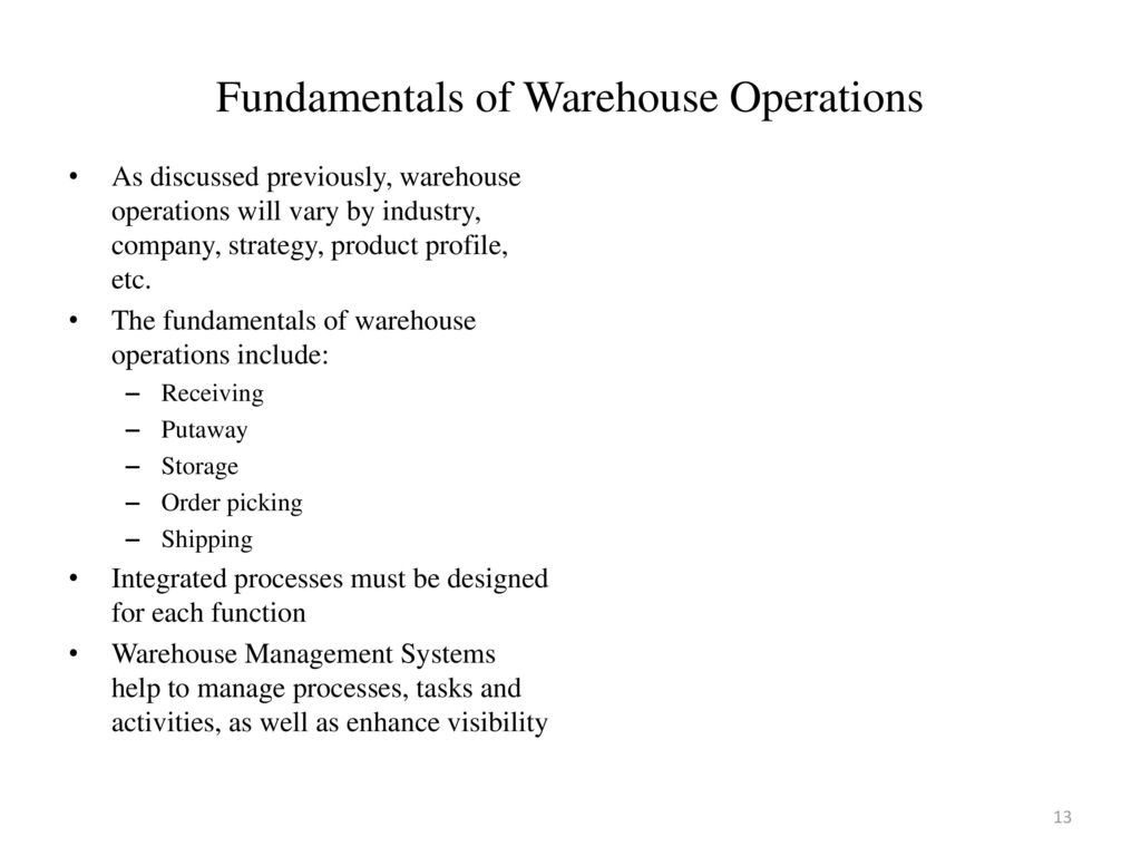 Presentation Agenda Warehouse operations defined - ppt download