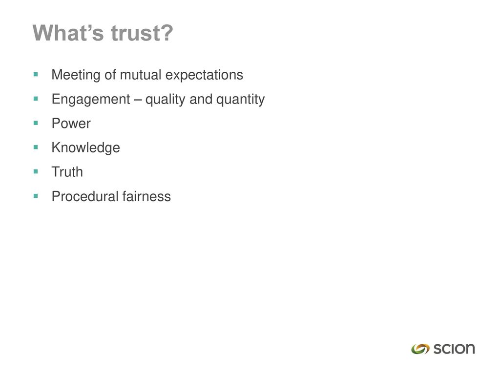 What's trust Meeting of mutual expectations
