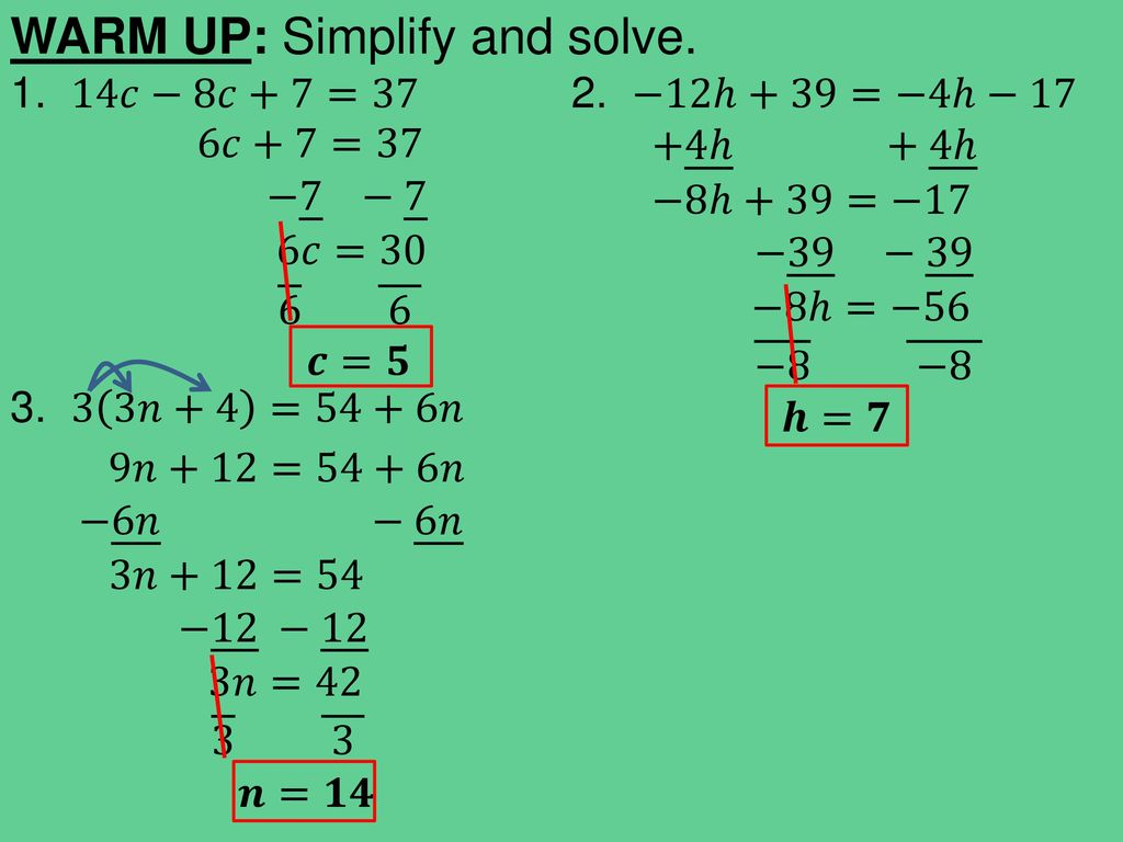 TODAY IN ALGEBRA… Warm Up: Review solving Multi-step equations - ppt ...
