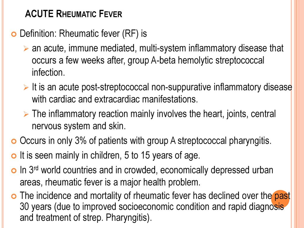 acute rheumatic fever treatment guidelines 2015