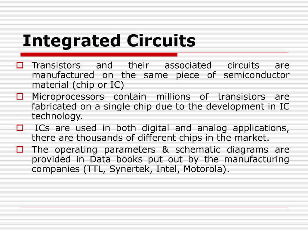 Active Components Integrated Circuits Ppt Download Where Are Used 8 Transistors