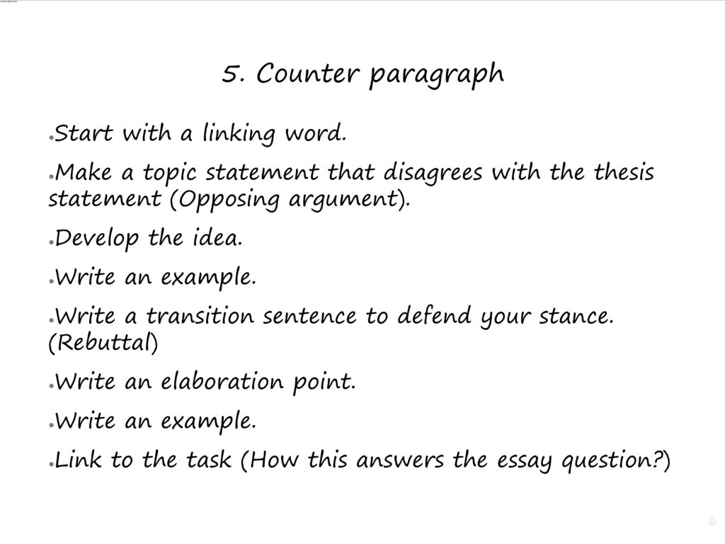 how to write an opposing argument paragraph