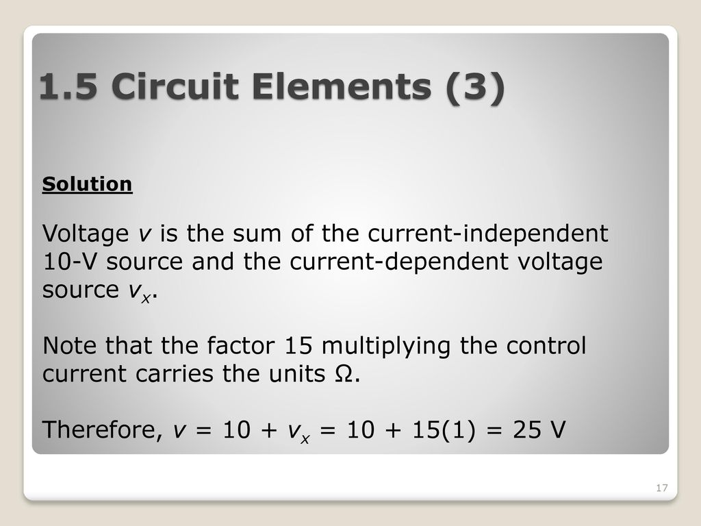 Ekt101 Electric Circuit Theory Ppt Download Circuits Current Controlled Voltage Source Indep 15 Elements 3 Solution V Is The Sum Of