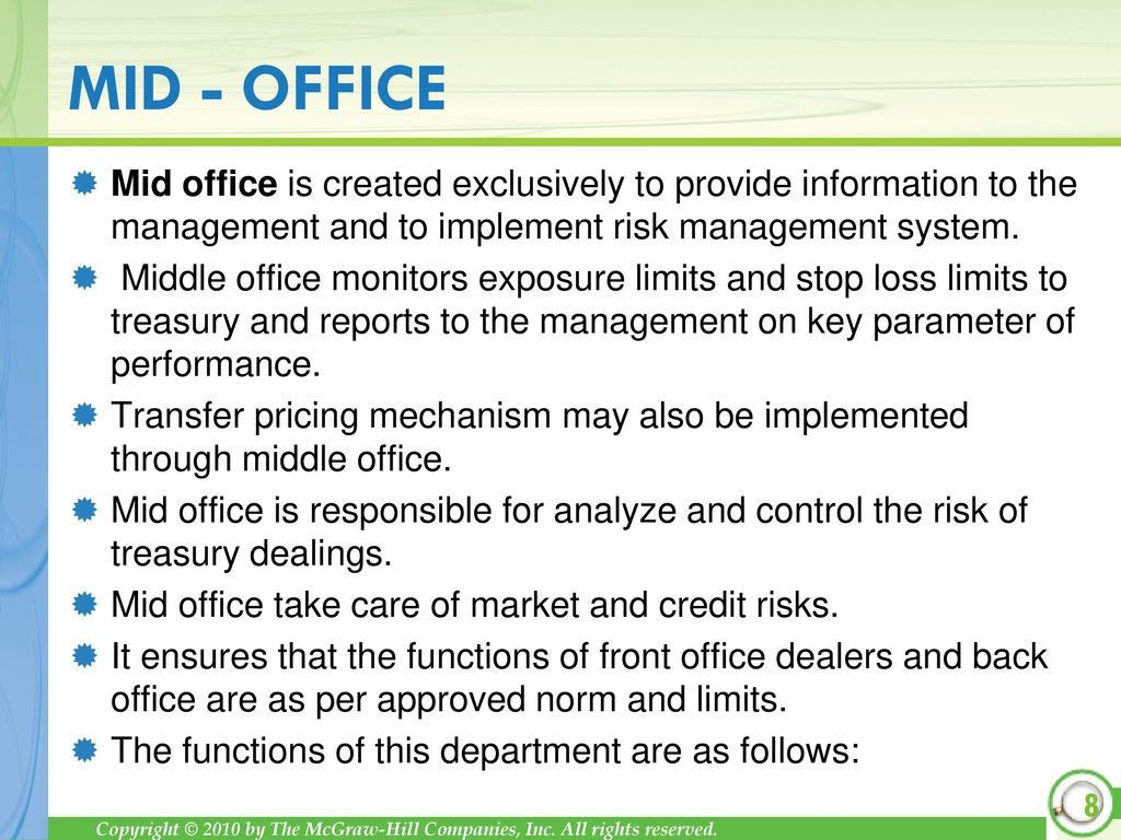 Treasury organization and structure ppt download - Bank middle office functions ...