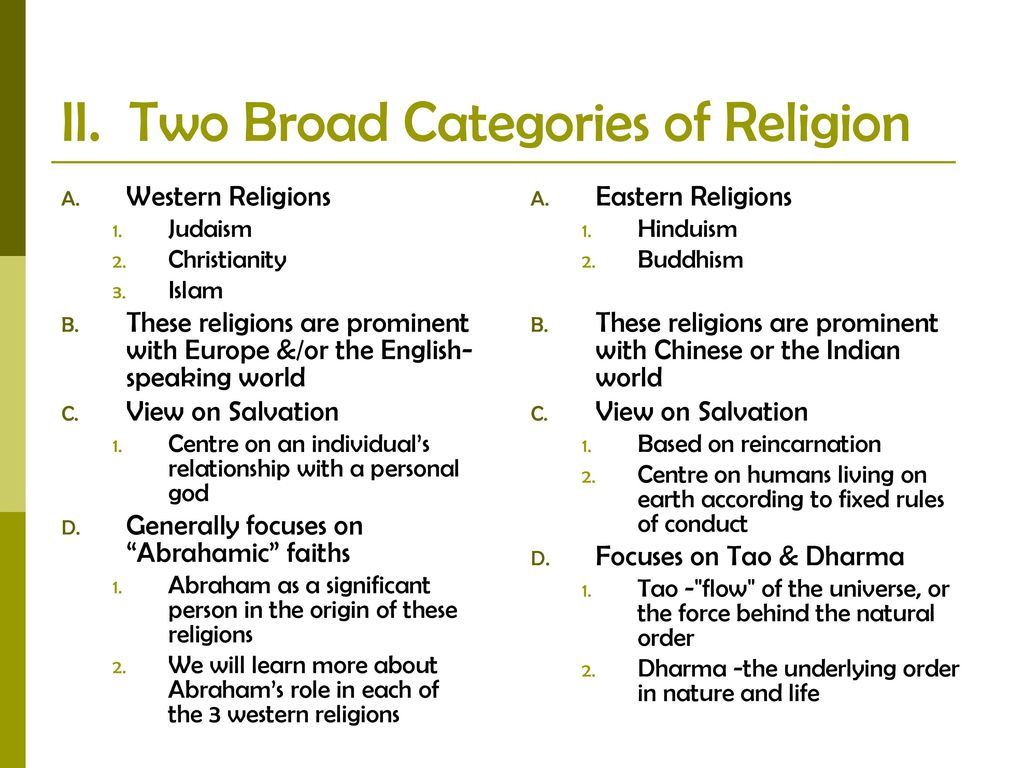 western religions vs eastern religions